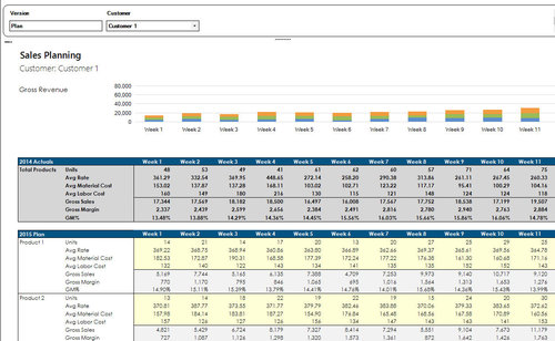 An example sales planning report produced in Prophix