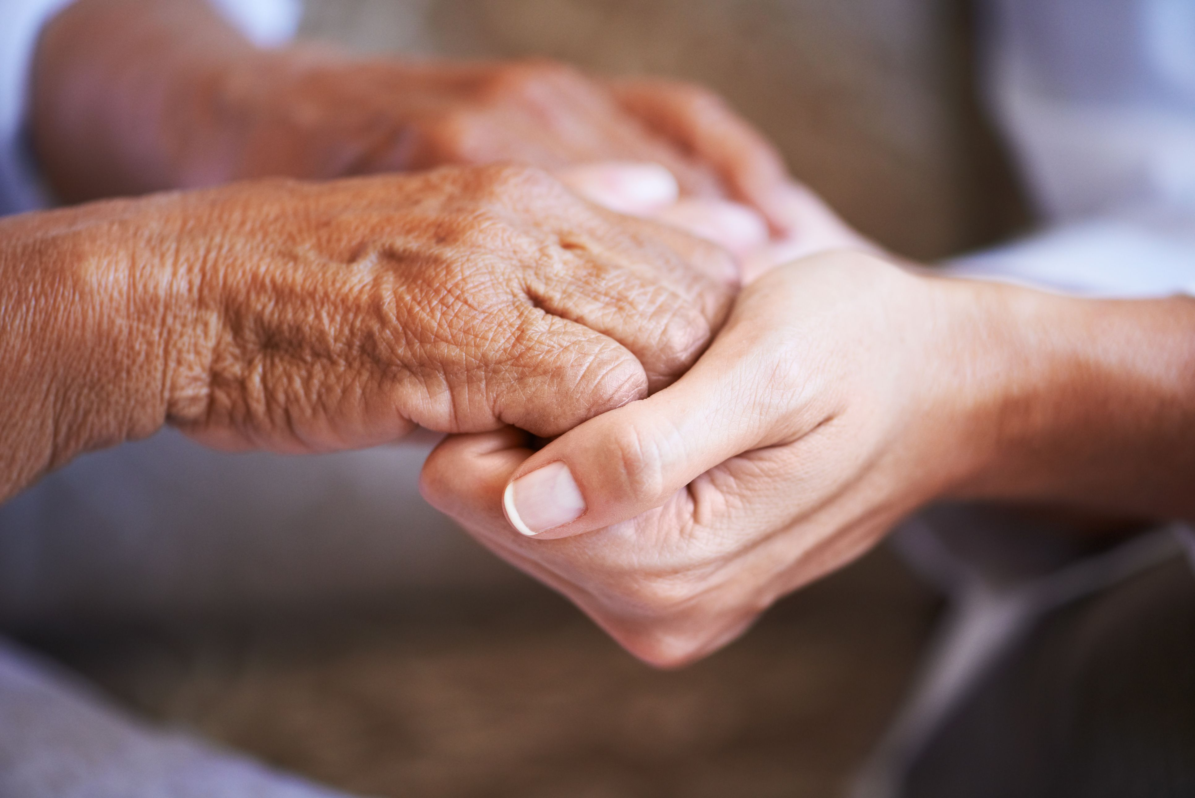 Two people holding hands - an elderly person and a young person