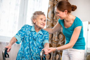 Elderly client and carer providing in home care